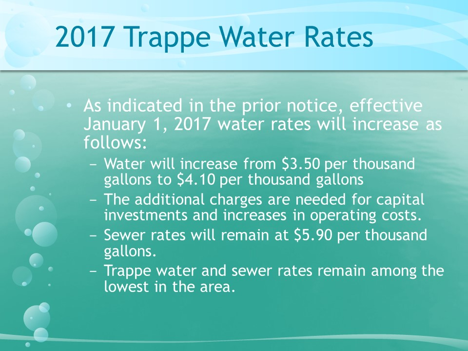 2017 Trappe Water Rates
