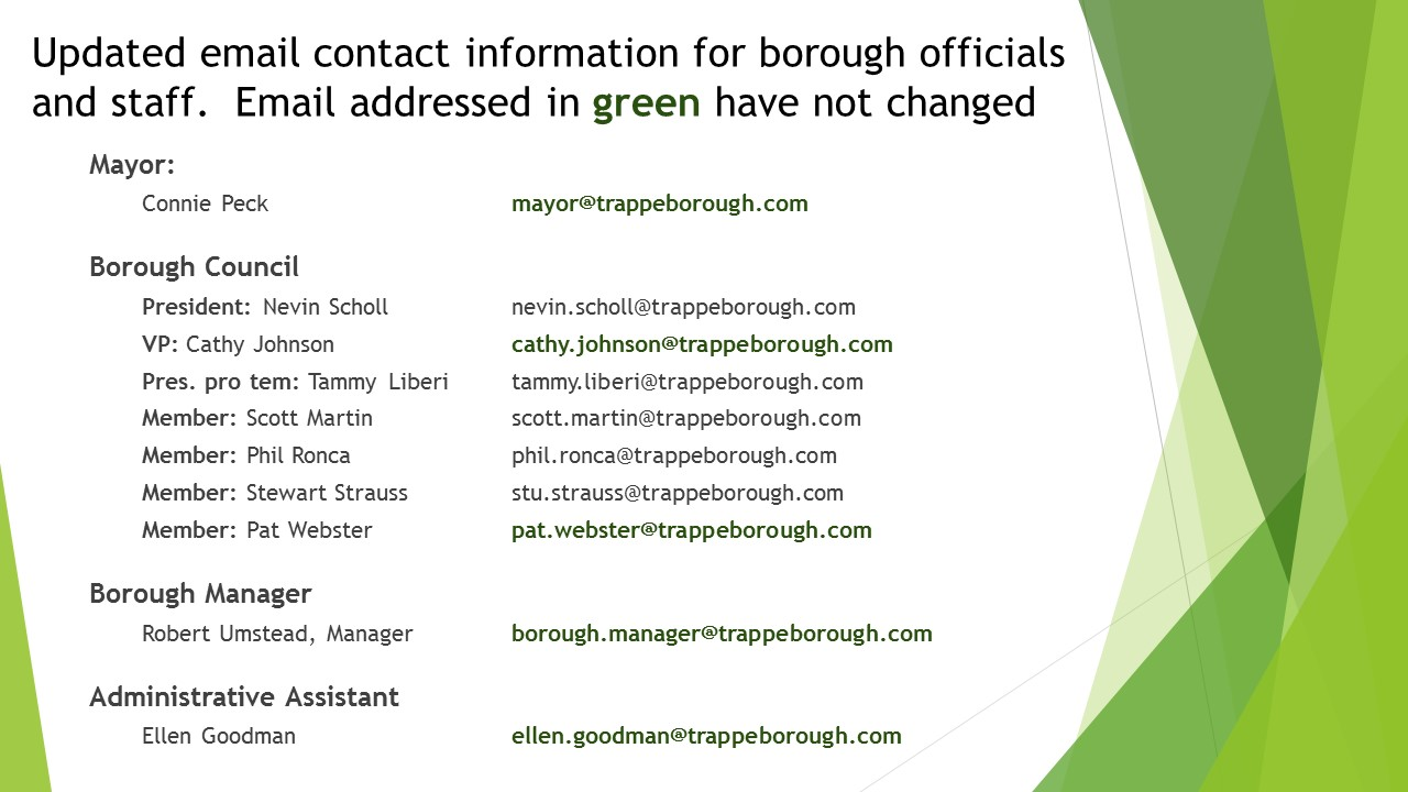 Updated email contact information for Trappe Borough
