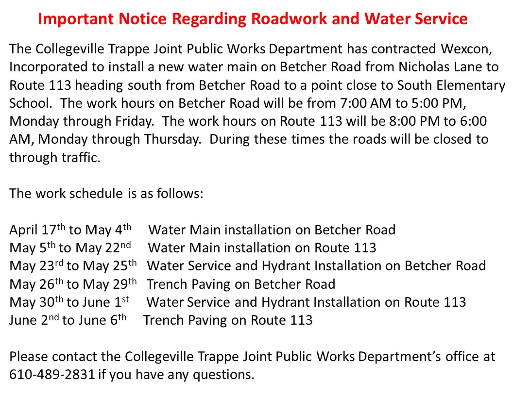 Betcher Road Water Main Notice
