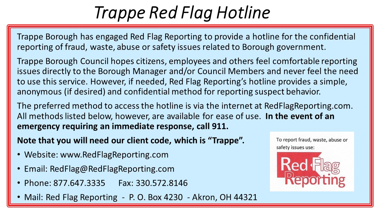 Trappe Red Flag Hotline